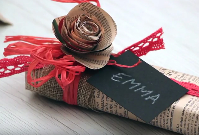 Tutorial pacchetto regalo con materiali di riciclo